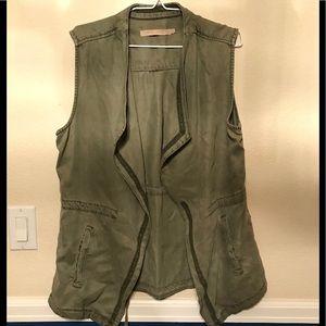 EUC Max Jeans Sleeveless Green Utility Jacket